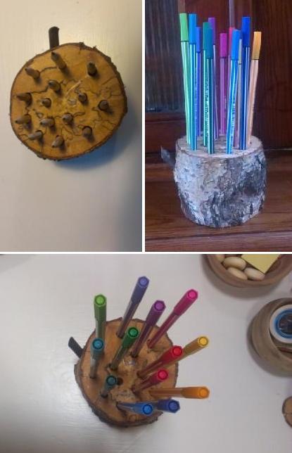 decoratieve potloodhouder of pennenhouder in hout