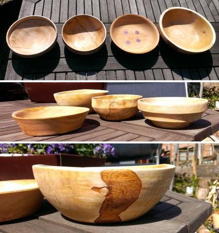 houten kommetjes in plataan, kers en berk