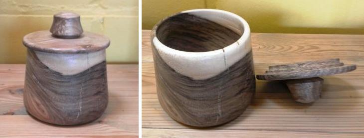 houten pot met deksel in notelaar