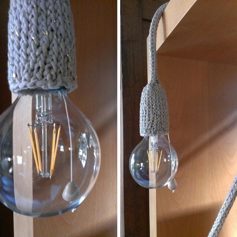 gebreide lamp met trekschakelaar