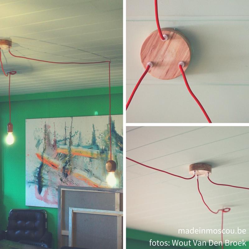 houten lampen en plafondkap