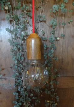 houten lamp - handwerk - kers