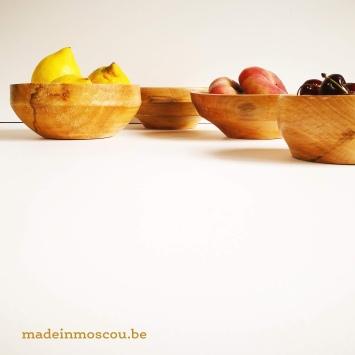 houten kommen -- plataan - kers - eik