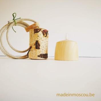 houten lampfittingen- berkenlamp met plafonkapje
