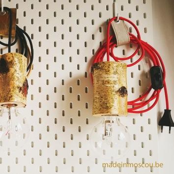 houten lampfittingen- berkenlamp met stekker