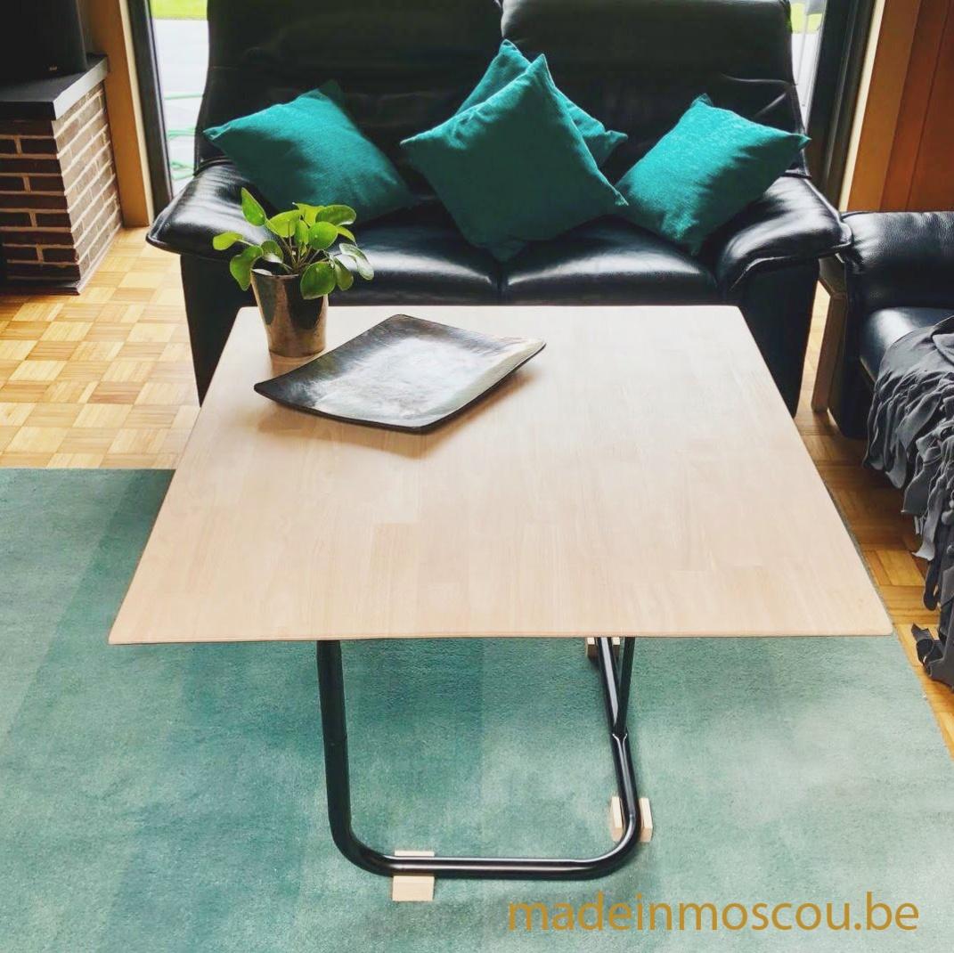 salontafel met onderstel van stoel
