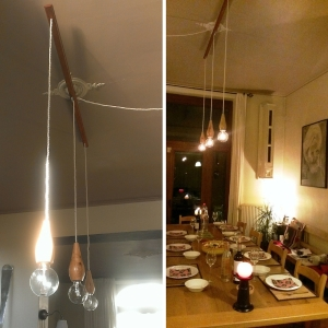 unieke houten lampen eetkamer